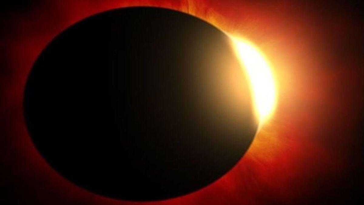 Eclipse total de sol produciéndose